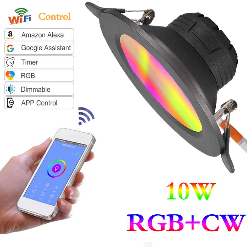 WiFi Smart Light Led Downlight Led Ceiling lamp 10W color RGB  Wake-Up Compatible with Alexa and Google Assistant