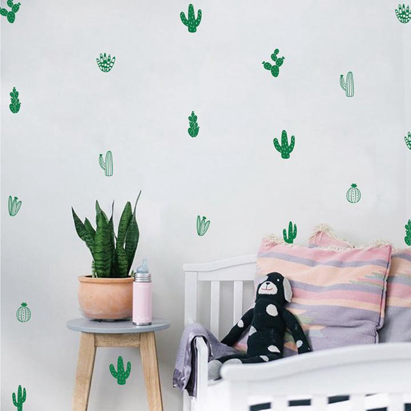Wall Sticker Multi Shaped Cactus Cacti Tropical Plants Set of 10 Removable Decal
