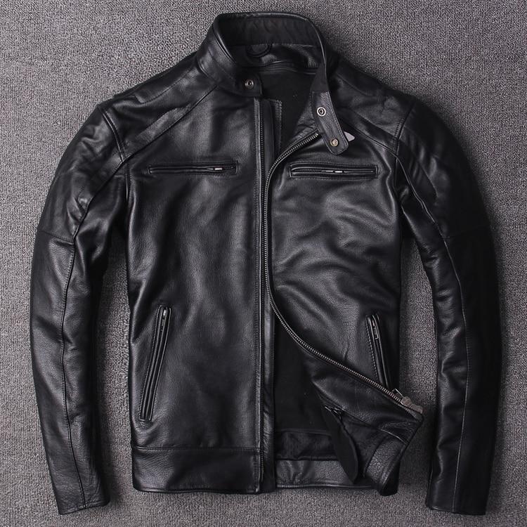 Free shipping.plus Eur size classic men cow leather Jackets men's genuine Leather biker jacket.Brand new coat,sales