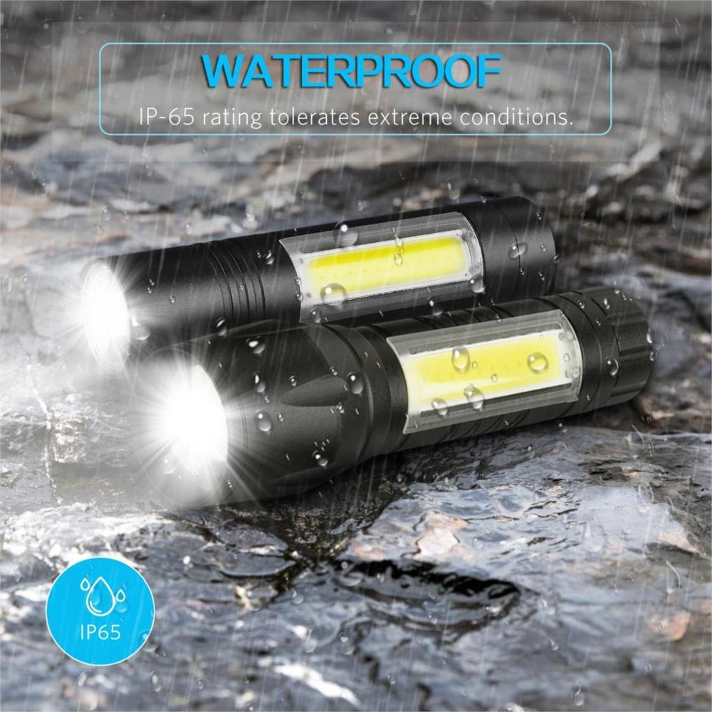 COB LED Flashlight Super Bright Waterproof Handheld Flashlights Torch Lantern Work Light For Emergency Lighting