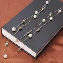 Ожерелье многослойное женское длинное ожерелье с жемчужиной