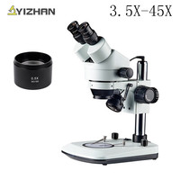Professional 3.5X 45X Table Pillar Stand Zoom Binocular Stereo Microscope Inspection PCB Repair Microscopio 56 LED Light Source