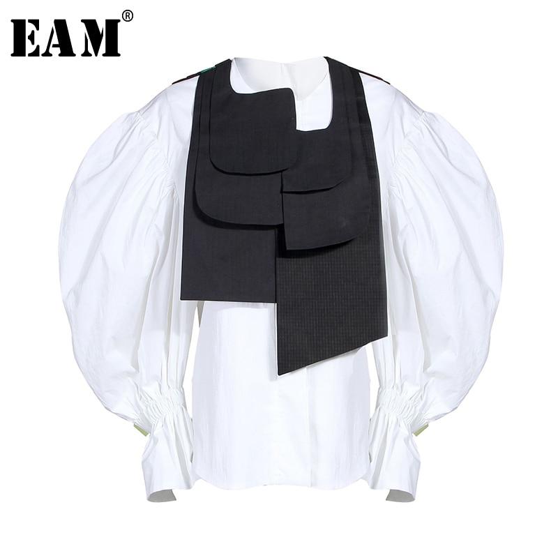 [EAM] Women Blouse New Round Collar Long Lantern Sleeve Loose Fit Button Irregular Shirt Fashion Tide Spring Autumn 2020 JZ327