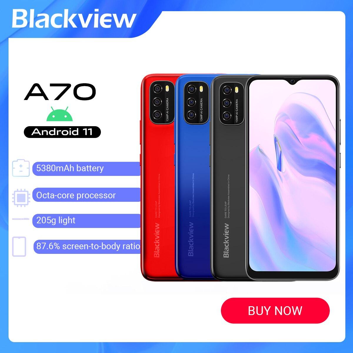 Оригинальный Blackview A70 Android 11 смартфон 6,517 дюймов Дисплей Octa Core, 3 Гб оперативной памяти + 32 ГБ 5380 мА/ч, 13MP Камера Face ID 4G мобильный телефон