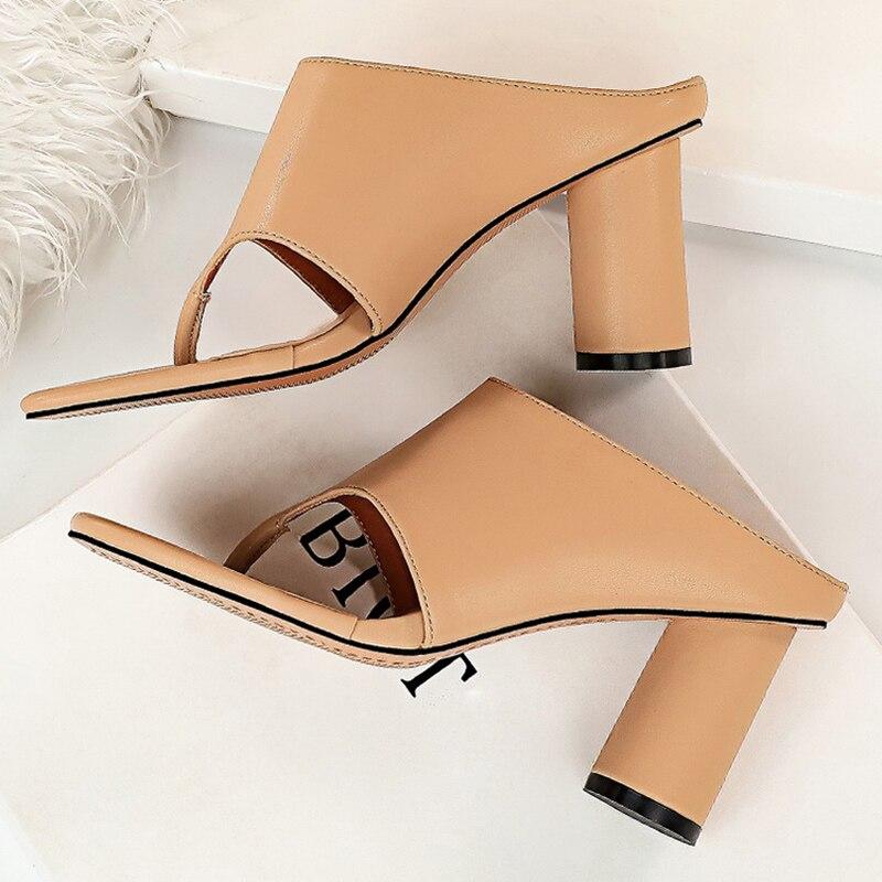 2019 verão feminino bloco 8cm de salto alto mules brancas praça saltos grossos chinelos dedo do pé quadrado sandálias flip flops bombas sapatos casuais