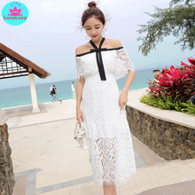 2019 summer new womens sexy strapless halter neck collar long lace openwork dress