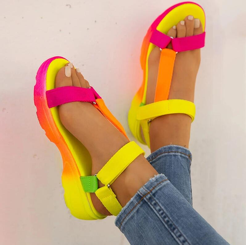 Summer Sandals Womens Shoes Big Size Soft Multi Colors Sandals Beach Ankle Wedge Platform Shoes Ladies Girls Sandals For Women