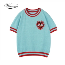 Warmsway Bee Pattern Flowers Appliques Lurex Knit Top T Shirt Pullovers Knitwear Summer Top 2021 Design Clothes  B-103