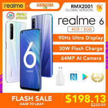 Realme 6 Globale Version Handy 4GB 8GB RAM 128GB ROM 30W EU Blitz Charge 4300mAh Helio G90T 64MP Kamera NFC Play Store