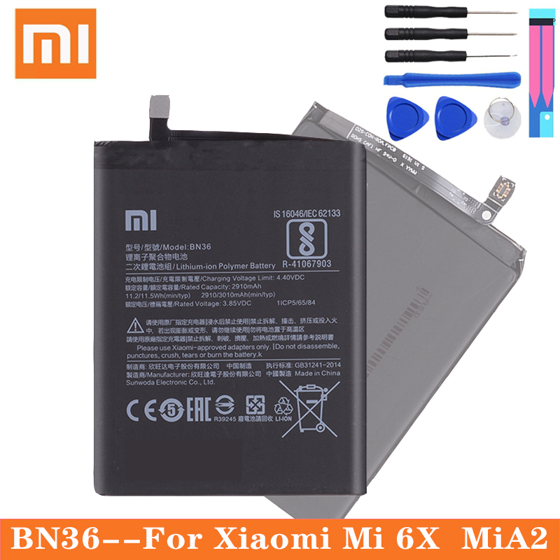 Xiao <font><b>Mi</b></font> Original Phone Battery BN36 for <font><b>Xiaomi</b></font> <font><b>Mi</b></font> 6X Mi6X <font><b>Mi</b></font> <font><b>A2</b></font> <font><b>MiA2</b></font> 2910mAh High Capacity Replacement Battery Free Tools image