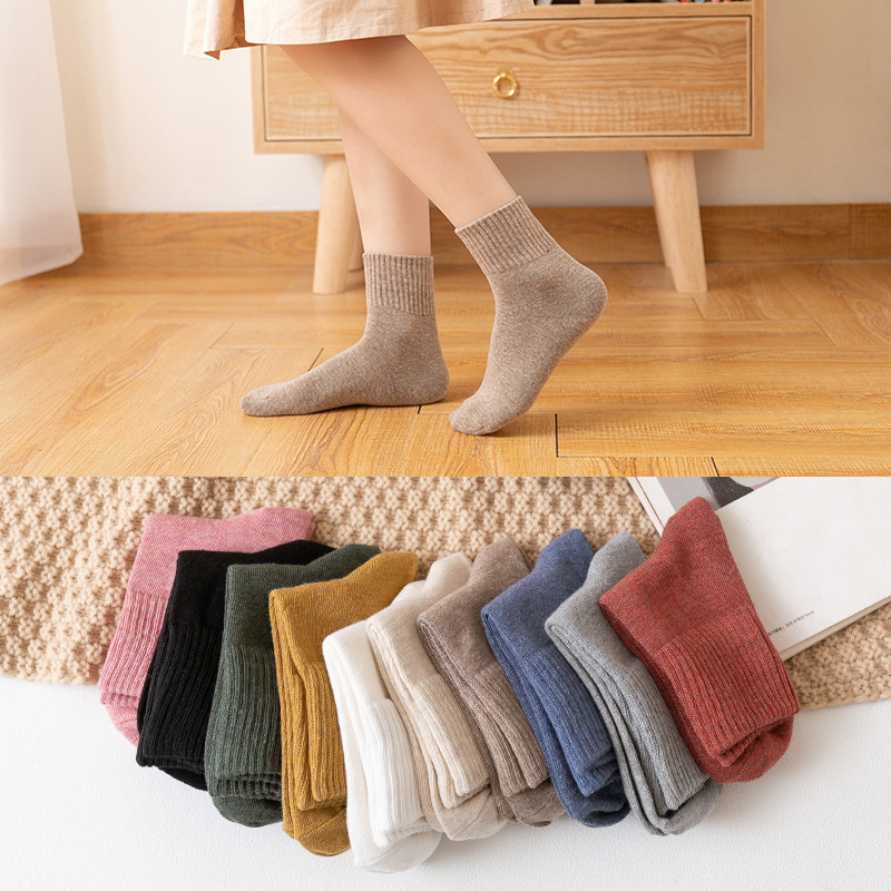 Cotton Socks Knitted Comfortable Girls Colorful Autumn Winter Warm Women 5-Pairs Special