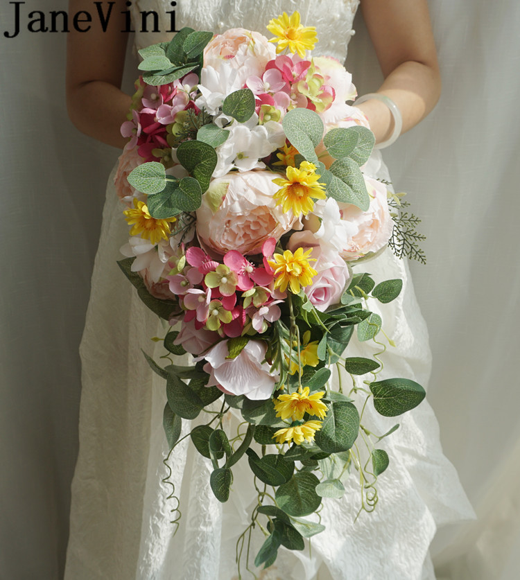 Janevini 2020 Silk Bridal Bouquet Of Artificial Flowers Waterfall