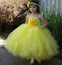 Śliczne dziewczyny żółty kwiat Tutu sukienka dzieci szydełka gorset do sukienki suknia balowa z Hairbow dzieci Halloween stroje imprezowe sukienki tanie tanio BAYIMAYEE Mesh Poliester Połowy łydki REGULAR O-neck Bez rękawów Pasuje prawda na wymiar weź swój normalny rozmiar