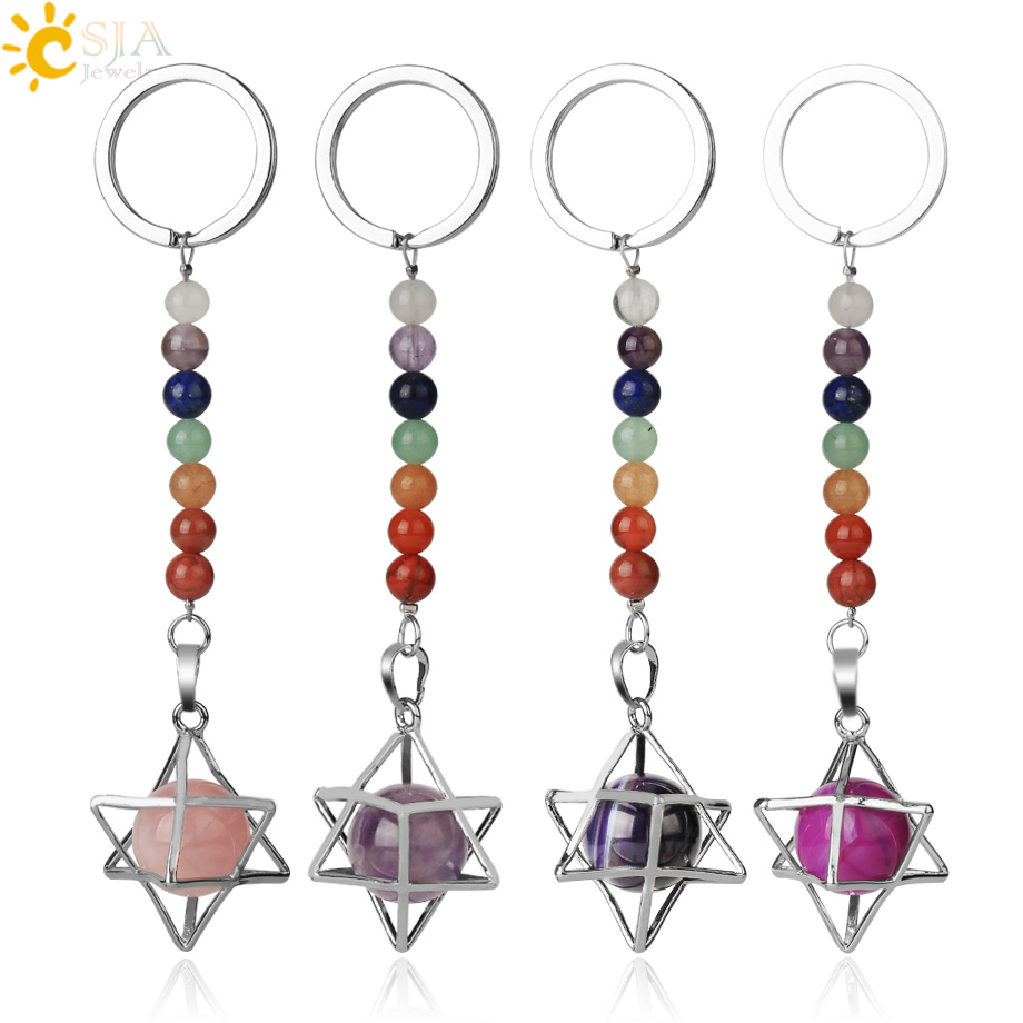 CHAKRA TREE OF LIFE Gemstone Chip Key Ring Key Fob Quartz Jasper Amethyst Jade