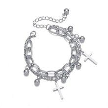 bracelets 2020 Cross Stainless Steel Bracelets Charms Bracelets Men Hiphop Chunky Chain Double Layers Bead Bracelets & Bangles Jewelry
