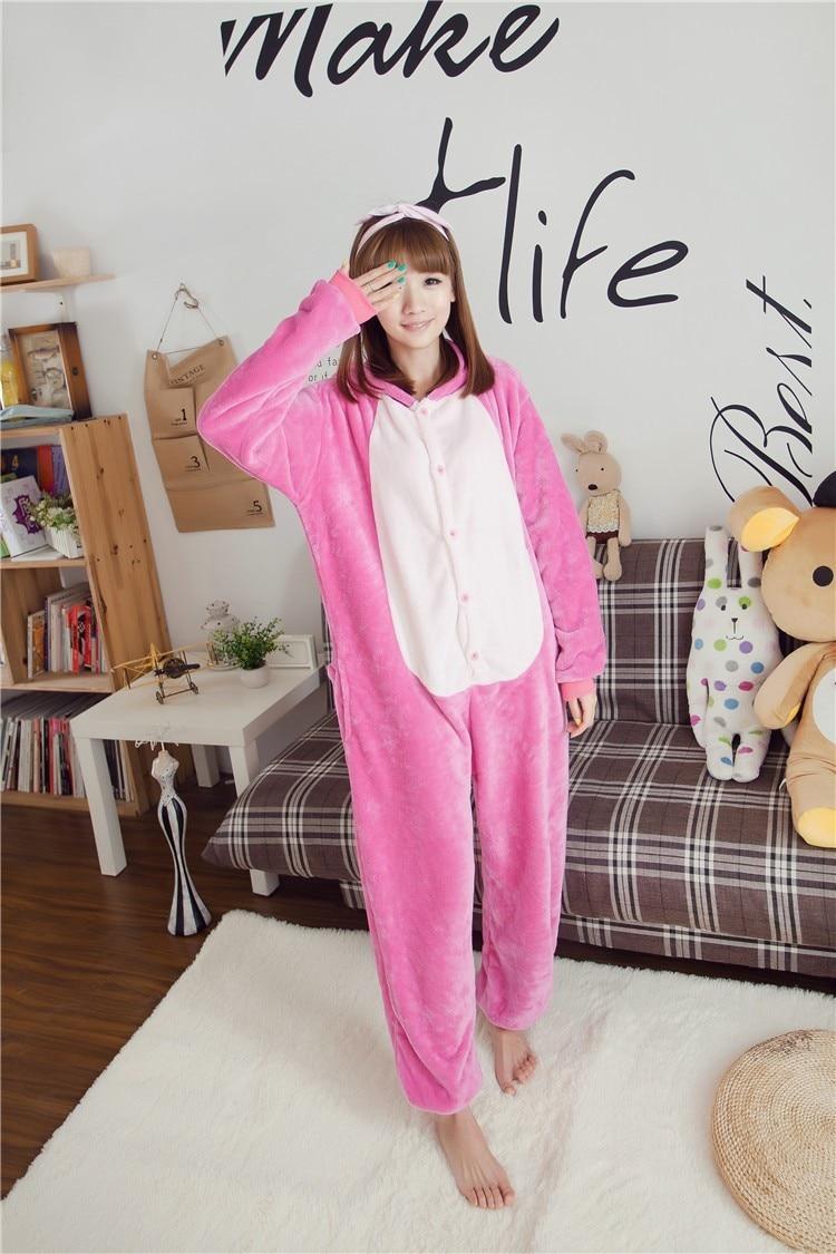 """""""Kigurumi Unisex"""" mėlynos rožinės spalvos dygsnio pižamos su gyvūnais Onesie vienetinės pižamos kostiumo kostiumas"""