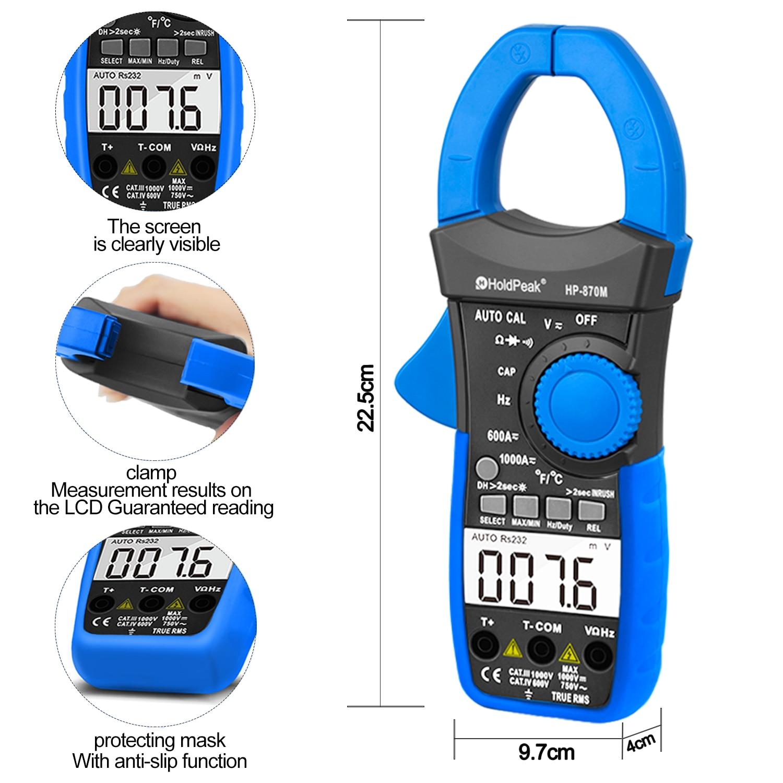 HoldPeak HP-870N Auto Range Multimetro Digital Clamp Meter Multimetro - Strumenti di misura - Fotografia 4