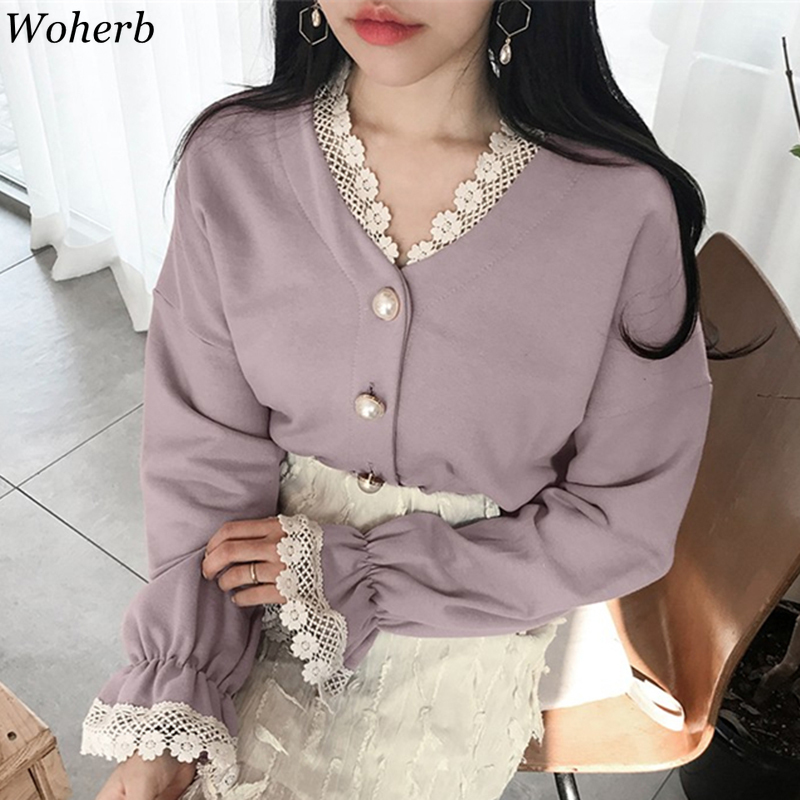 Woherb Lace Neck Cardigan Women V Neck Sweater 2020 Cute Pearl Button Cardigans For Women Korean Kawaii Knit Jacket Feminino