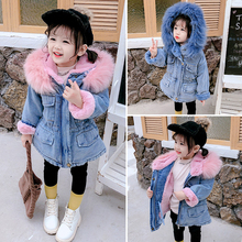 2019 Winter Toddler Girl Denim Jacket Plus Velvet Hooded Warm Girls Outerwear Parka Coat 2-7 Years Kids Clothes Baby Thick Coats цена и фото