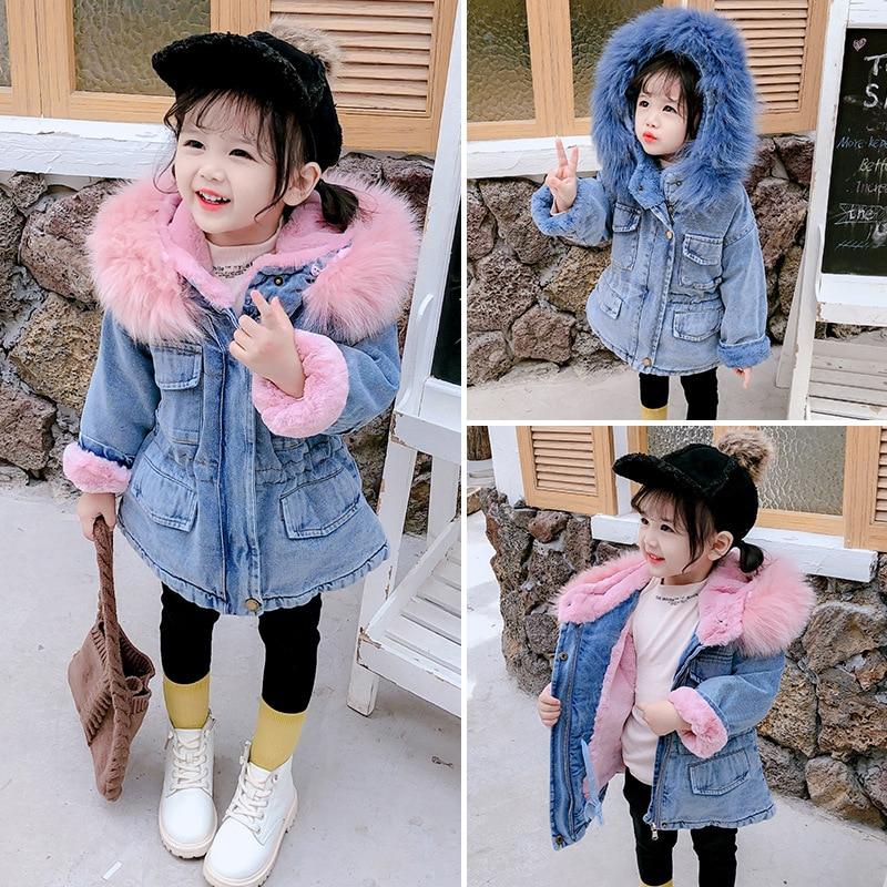 Toddler Kids Baby Girls Boys Denim Coat Hooded Faux Fur Fleece Lined Winter Warm Thick Jacket Snowsuit Outwear