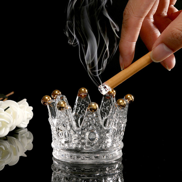 Crystal Crown Glass Ashtray & Candle Holder.
