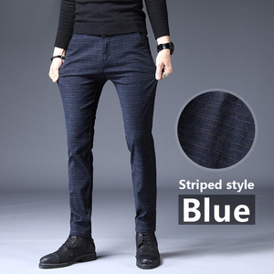 Image 4 - jantour Brand Pants Men Casual Elastic Long Trousers Male Cotton plaid gray Work Pant mens autumn Winter big size 28 38