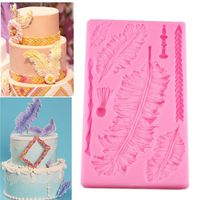 OOTDTY 3D Big Feathers Silicone Mold Fondant Cake Decorating Tools Candy Chocolate Mold