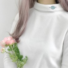 Women Autumn Long Sleeve Half High Collar T-shirt Fleece Planet Embroidered T Shirt Women Fashion Casual Bottoming Tops Female trendy jewel collar half sleeve flower print t shirt for women