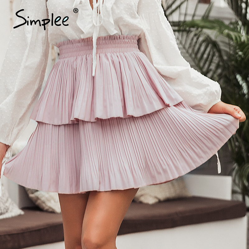Simplee Pleated Ruffled Women Skirts Summer Holiday Elastic High Waist Casual Cake Skirt Flounce Short High Fashion Female Skirt