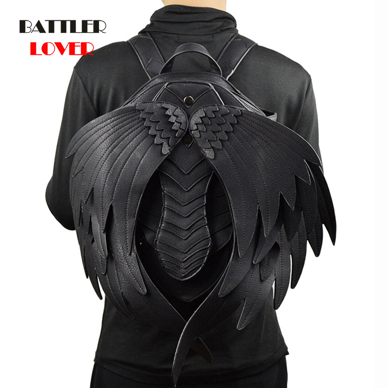 Punk Angel Wing Backpack For Men Women Gothic Black Leather Devil Backpacks Vintage Male Steampunk School Bag Vampire Retro Bags