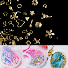 1Box Gold Nail Art Metal 3D Mix Frame Jewelry Filling UV Resin Epoxy Mold Making Filling For DIY Jewelry Making Accessories