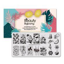 Beautybigbang Nail Stamping Piatti 6*12 centimetri In Acciaio Inox di Estate Sirena Ananas Immagine Stamping Stencil Per Unghie Artistiche XL 071