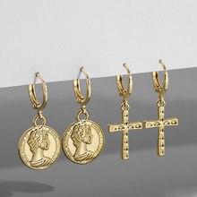 Oro Vintage retrato grabado ronda pendientes gota moneda para las mujeres cruzada de moda pendientes de cartílago Punk joyas oído