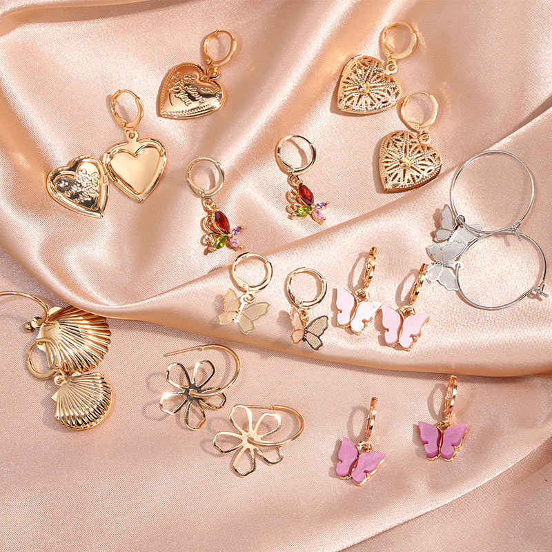 Flatfoosie New Butterfly Drop Earrings For Women Geometric Hollow Flower Shell Heart Openable Hanging Earrings Fashion Jewelry