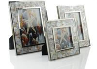 Metal Photo Frame with Brown Strip Mother of Pearl Shell Picture Holder photo frame set picture frames for paintings 50WW019