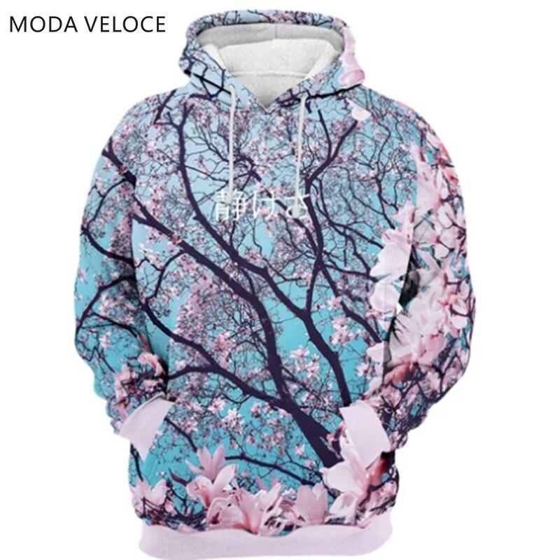 MODAVELOCE Cherry Blossom Hoodie Polyester With Wool Men Hoodies Sweatshirts Anime's Streetwear Men Hoodie Hip Hop