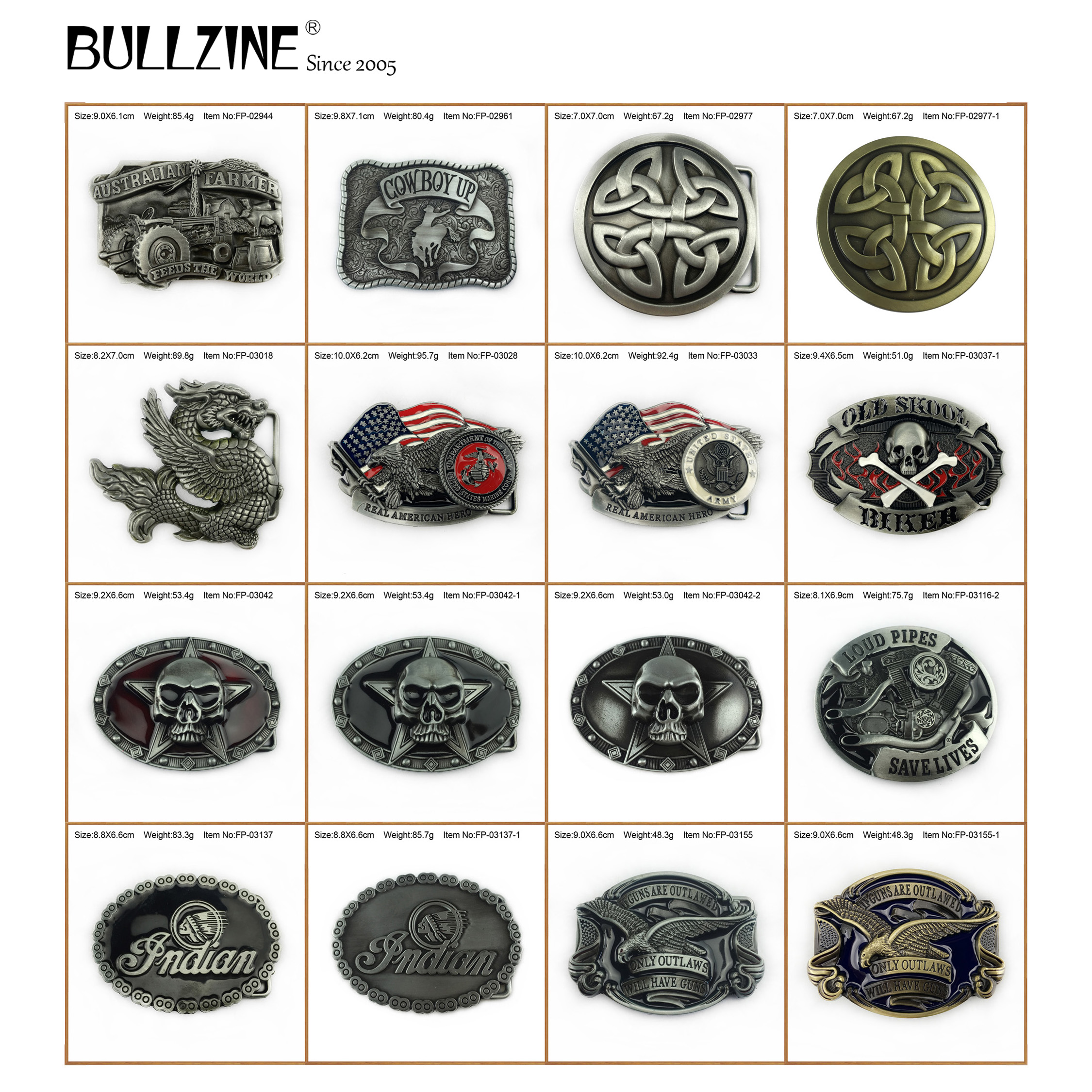 Bullzine zinc alloy Australian farmer loud pipes celtic cross eagle belt buckle INDIAN skull dragon US Army marines belt buckle