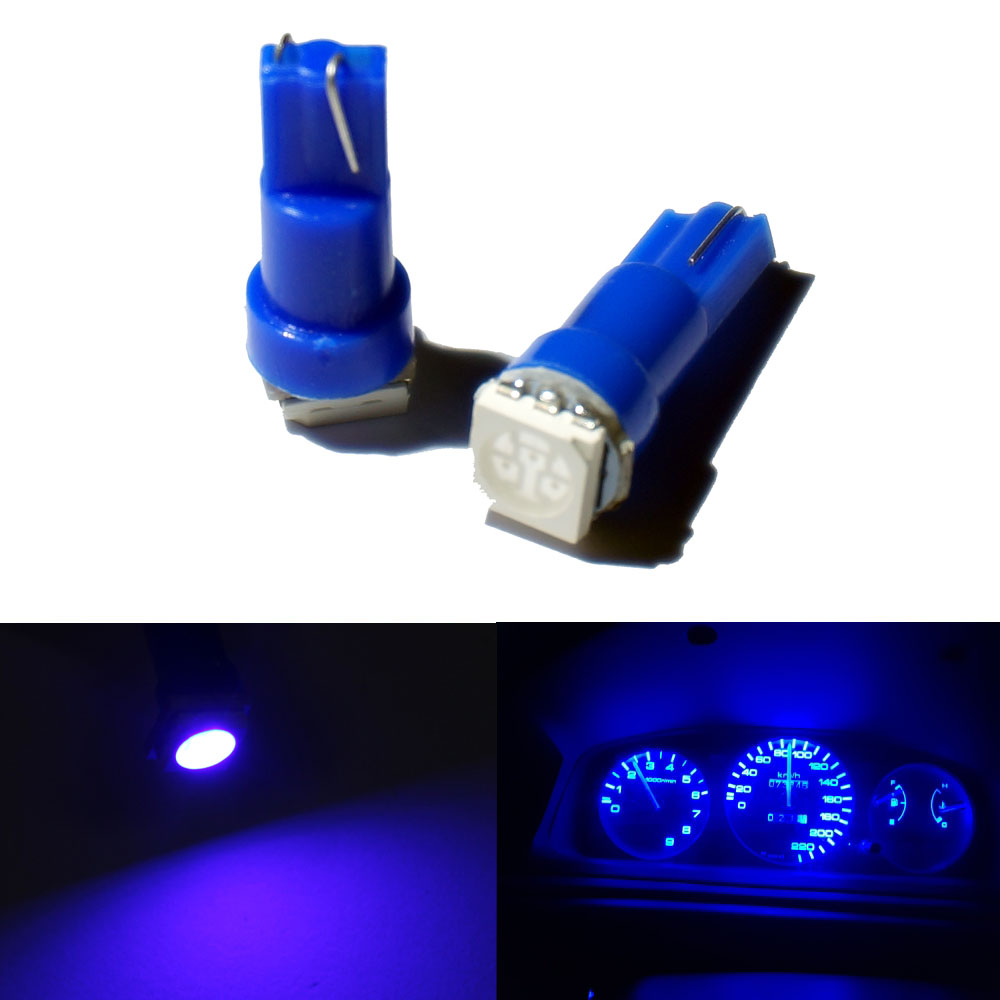 100X Белый t5 led белый инструмент лампы автомобильной двери клин Калибр лампа для чтения панель с предупреждающим индикатором лампы 12 В - Испускаемый цвет: Синий