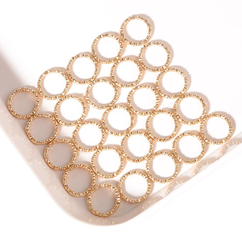 50pcs 8-20mm Gold Rhodium Round Jump Rings Twisted Open Split Rings jump rings Connector For Jewelry Makings Findings Supplies