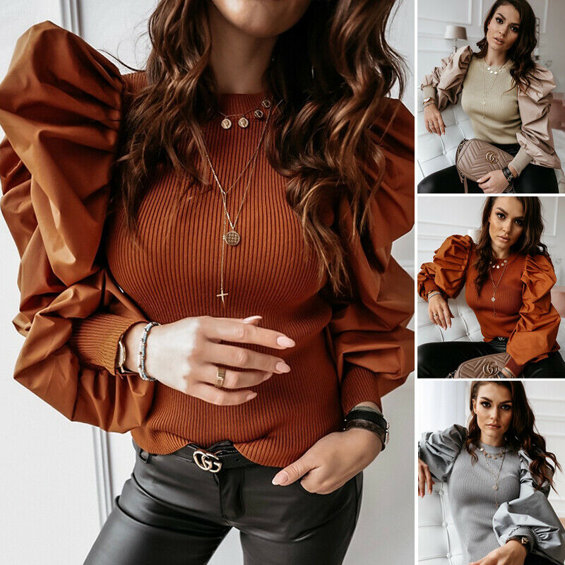 New Women Casual Knitted Sweater Women Polka Dot Mesh Puff Sleeve Sweater Pullover Female Tops Autumn Winter Ladies Jumpers