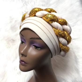 Nigerian Shining Gele Headtie Aso Oke Gele Already Made Auto Gele Aso Ebi Headtie African Turban Cap with Colorful t-AC30 image