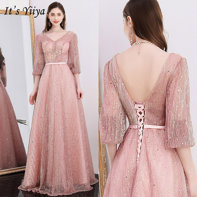 It's Yiiya Evening Dress 2019 Shining V-Neck Backless Lace Up A-Line Dresess Three Quarter Sleeve Elegant Robe De Soiree E1041