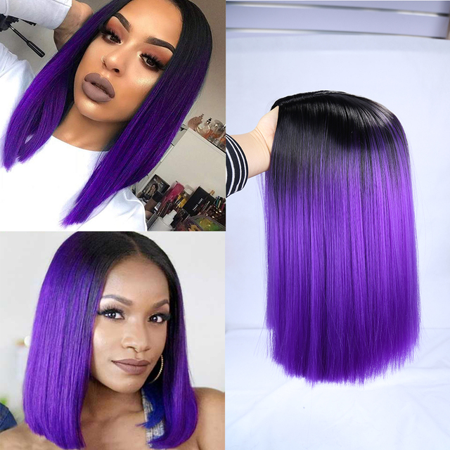 FAVE Ombre Black Purple/Blonde/Grey/Flax Brown/ Straight Synthetic Wig Shoulder Length Middle Part Cosplay For Womens Daily Wig