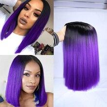 FAVE Ombre czarny fioletowy/blond/szary/len brązowy/prosta peruka syntetyczna długość ramion środkowa część Cosplay dla czarnych kobiet peruka