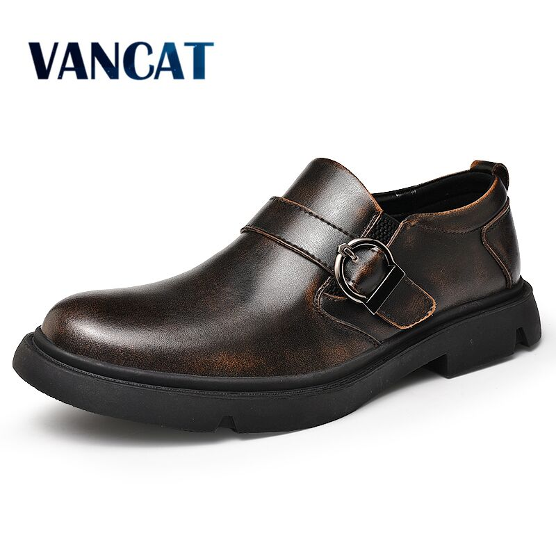 Vancat New Brand  Men's Oxford Shoes Genuine Leather Dress Shoes Fashion Loafers High Quality Casual Flats Men Shoes Size 38-46