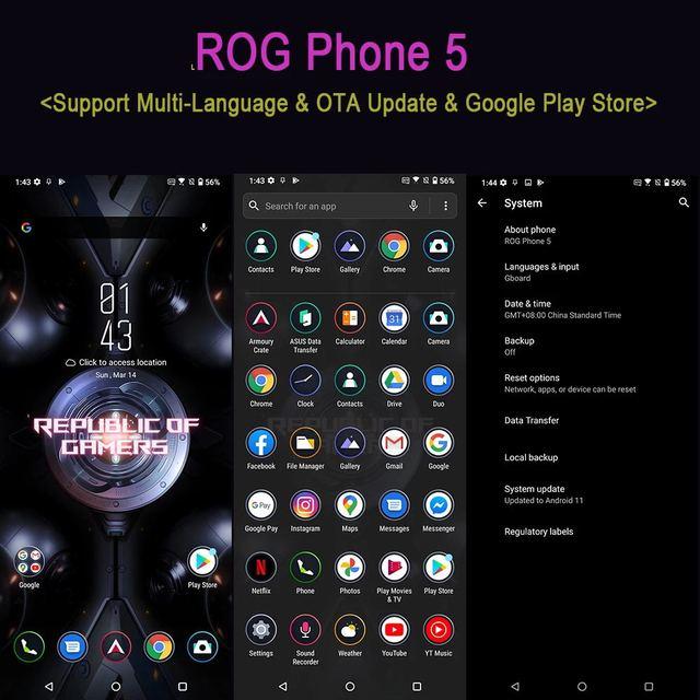 """Original asus rog telefone 5 5g gaming telefone 6.78 """"16ram 144hz exibição snapdragon 888 6000mah carregamento rápido 65w rog5 telefone móvel 2"""