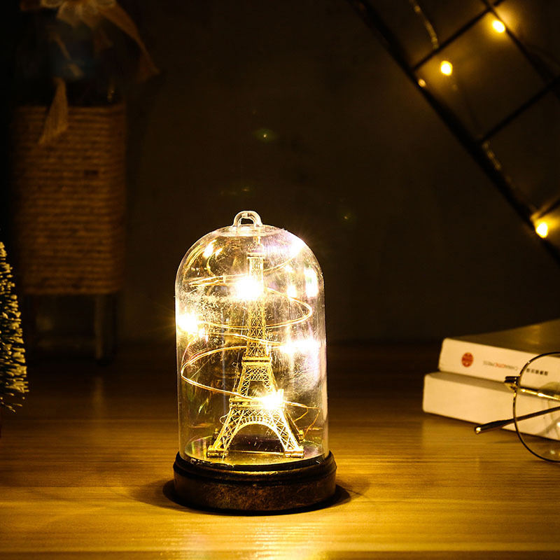 Nordic Creative Paris Tower Glass Night Light Led Lights Party Decor Home Decoration Wedding Valentines Day Gift