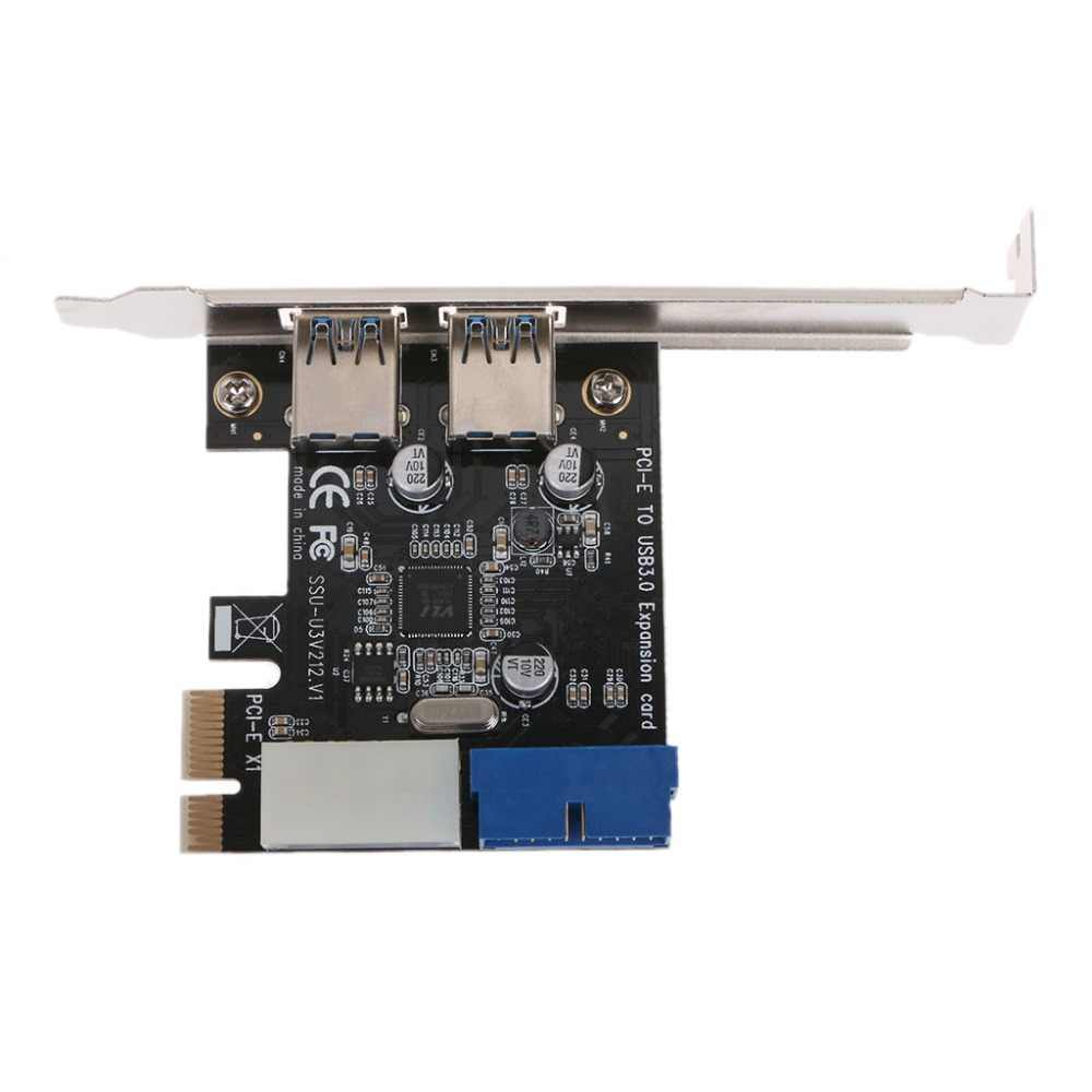 Nuevo PCI Express USB 3,0 Panel frontal de 2 puertos con adaptador de tarjeta de Control de 4 pines y 20 pines