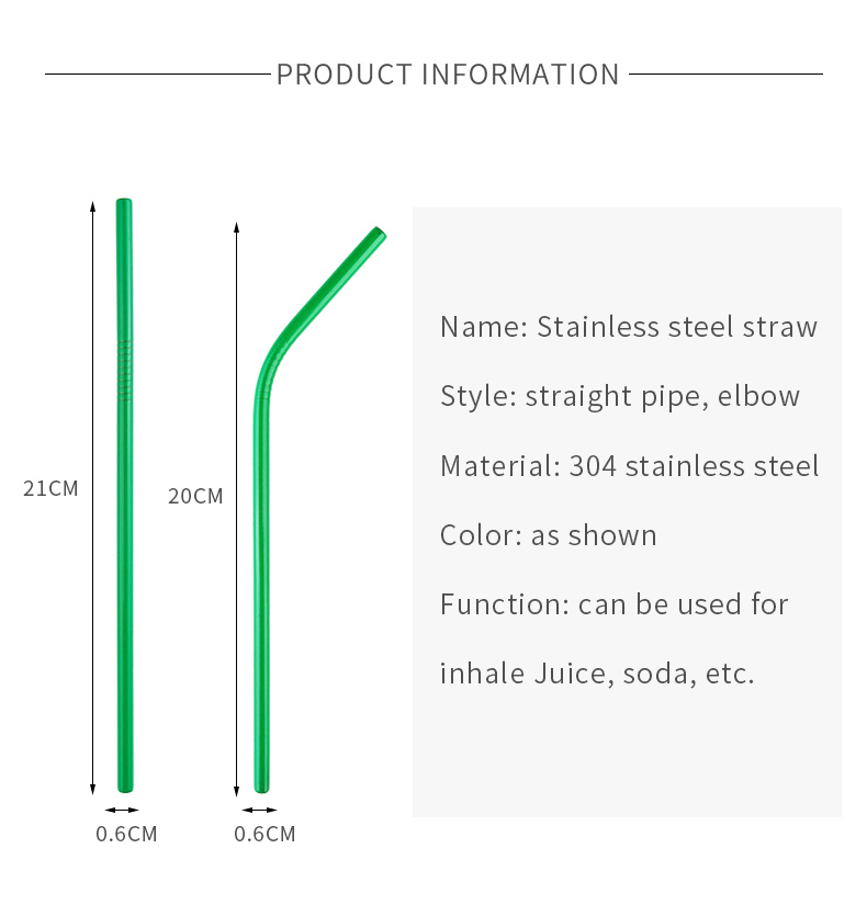 6*215mm Colorful 304 Stainless Steel Drinking Straw Eco-friendly Reusable Metal Bent Straws Set Party Favor Bar Accessory
