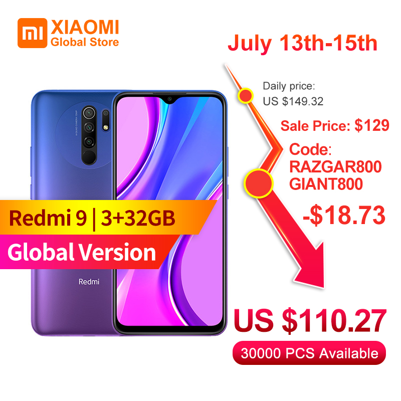 Original Global Version Xiaomi Redmi 9 Smartphone 3GB 32GB Helio G80 13MP+8MP Camera 6.53 inch Display 5020mAh Mobile Phone